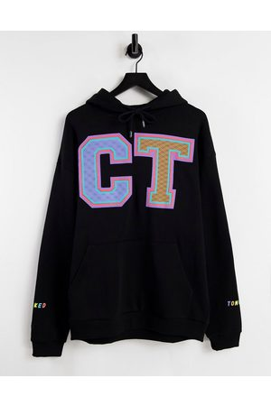 Crooked Tongues Hoodie with varsity style print in