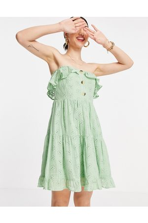 ASOS Bandeau mini sundress with pephem in broderie in