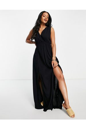 ASOS Recycled gathered detail maxi beach dress in