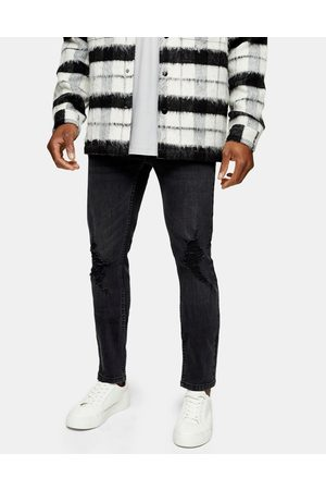 Topman Stretch skinny jeans with rips in washed