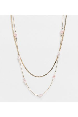 Reclaimed Inspired pink pearl chain multirow necklace in gold