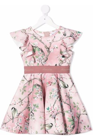 MONNALISA Ruffled-trim tree-print dress