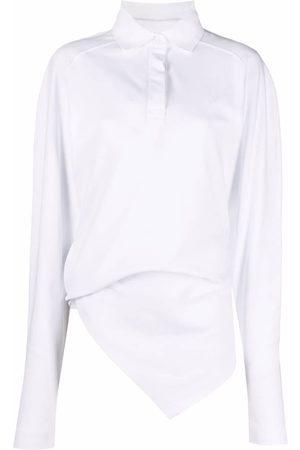 The Attico Asymmetric-hem long-sleeve polo shirt