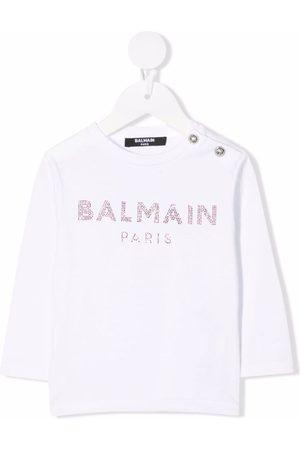 Balmain Baby Long Sleeve - Logo-studded long-sleeved T-shirt