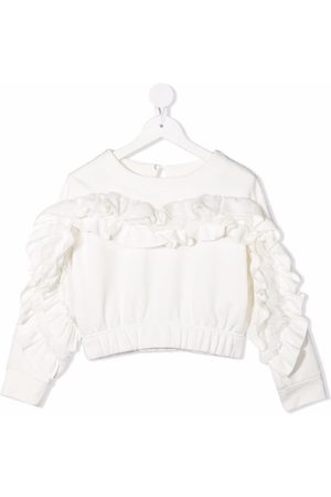 MONNALISA Ruffle-trimmed cropped swetshirt