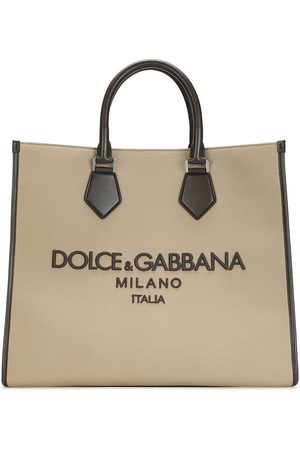 Dolce & Gabbana Men Bags - Logo-embroidered canvas tote bag