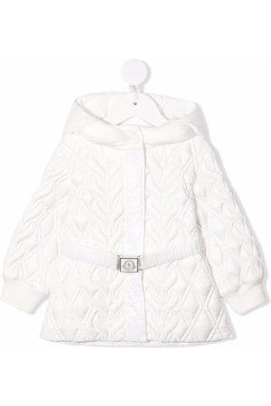Moncler Baby Coats - Quilted logo belt mid-length coat