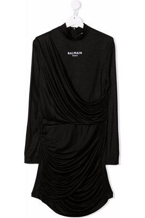 Balmain TEEN logo-embroidered long-sleeve dress