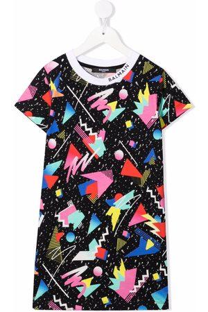 Balmain Graphic-print cotton T-shirt dress