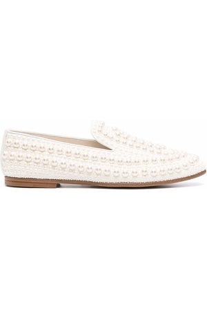 Jimmy Choo Pearl-embellished square-toe loafers