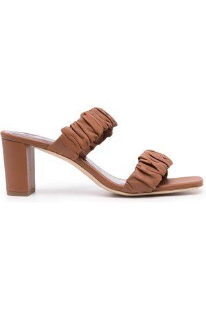 Staud Frankie ruched-strap sandals