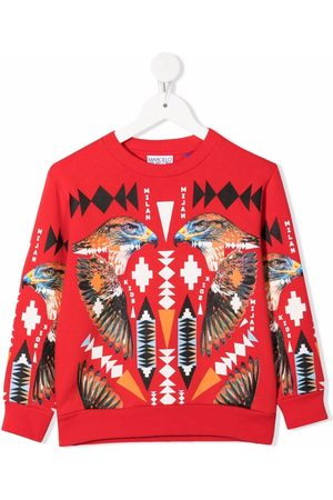 Marcelo Burlon County Of Milan Kids Boys Sweatshirts - Falcon-motif cotton sweatshirt