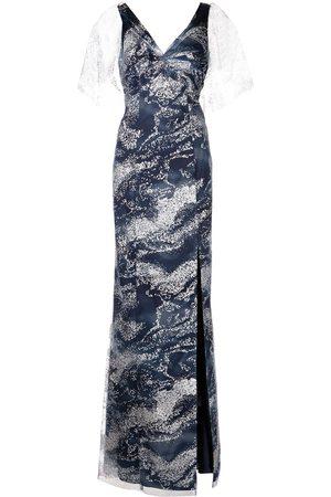 Marchesa Notte Glitter detail floor-length dress