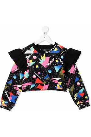 Balmain Graphic-print frill-trim sweatshirt