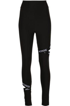 MONSE Logo-trim cut-out leggings