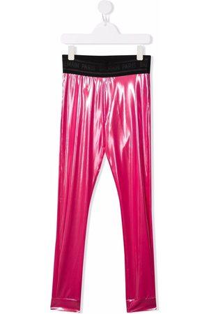 Balmain TEEN high-shine logo-band leggings