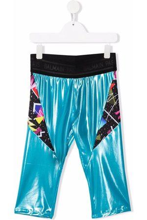 Balmain TEEN metallic print-panelled leggings