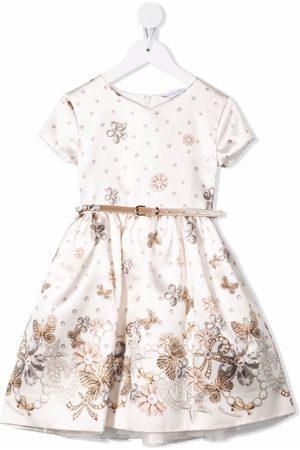 MONNALISA Girls Printed Dresses - Floral-print short-sleeved dress