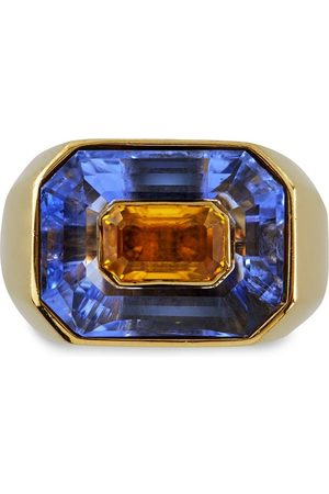Pragnell Vintage 18kt yellow French blue and yellow sapphire ring