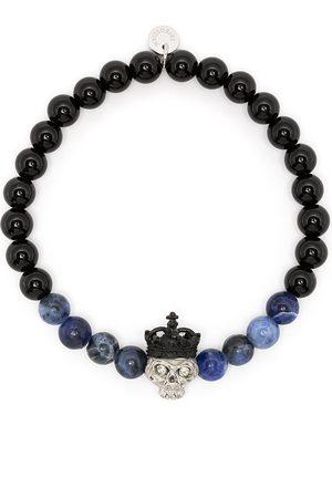 Tateossian King Skull beaded bracelet