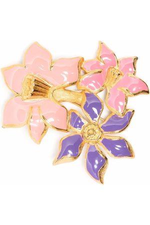 Monet 1980s enamelled flower brooch