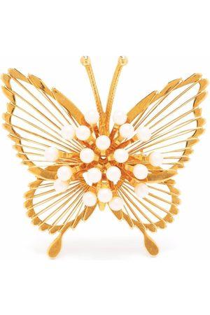 Monet 1990s pear-embellished butterfly brooch