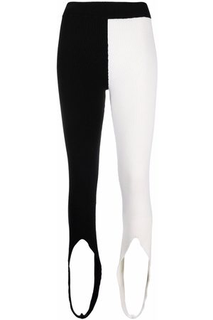AMI AMALIA Two-tone stirrup-cuff leggings