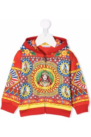 Dolce & Gabbana Carretto-print zip-front jersey hoodie