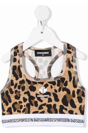 Dsquared2 Girls Tank Tops - Leopard print cropped tank top