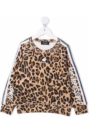 Dsquared2 Girls Sweatshirts - Logo leopard print sweatshirt