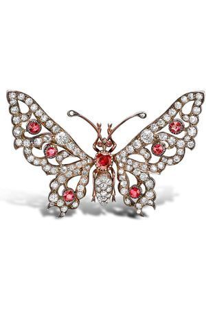 Pragnell Pre-owned Victorian 18t rose gold, diamond and ruby brooch