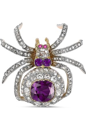 Pragnell Pre-owned Victorian 18kt yellow and white gold amethyst and diamond brooch
