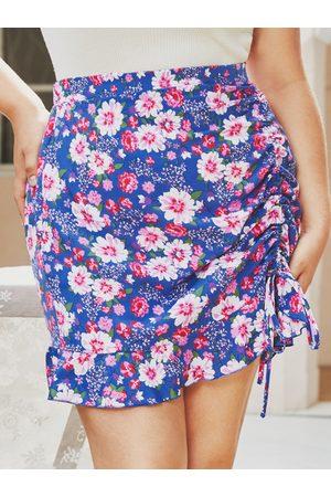 YOINS Plus Size Floral Print Drawstring Skirt