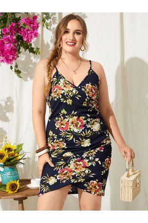 YOINS Women Printed Dresses - Plus Size Spaghetti Floral Print Crossed Front Design Sleeveless Dress