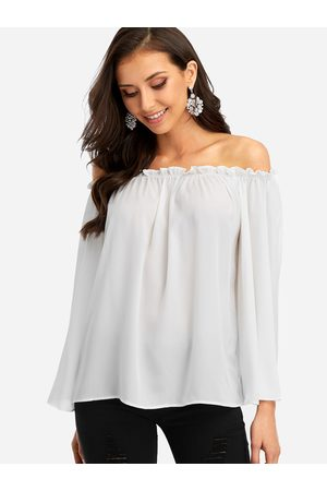 YOINS Women Tops - Off Shoulder Chiffon Top with Long Sleeves