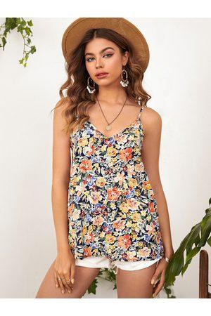 YOINS Women Camisoles - Floral Print Backless Design V-neck Cami