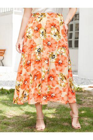 YOINS Plus Size Floral Print Skirt