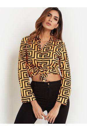 YOINS Geometrical Pattern Lapel Collar Long Sleeves Single Breasted Shirt