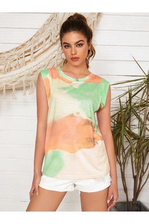 YOINS Women Tank Tops - Tie Dye Round Neck Short Sleeves Tank Top
