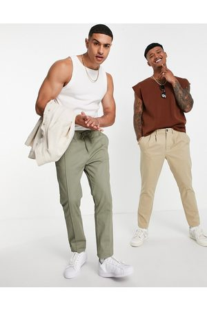 ASOS Skinny chinos with elasticated waist and pin tuck in light khaki