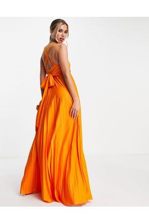 ASOS DESIGN Women Halterneck Dresses - Plunge halter cross back self tie pleated maxi dress in