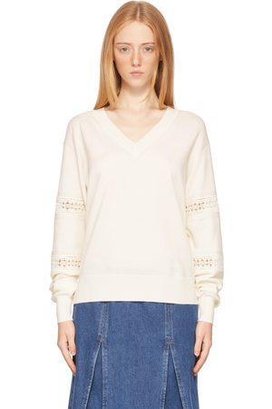 Women Jumpers - See by Chloé Off-White Lace V-Neck Sweater