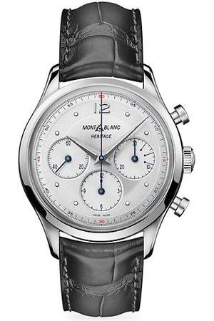 Mont Blanc Watches - Heritage Stainless Steel & Black Alligator-Strap Chronograph Watch