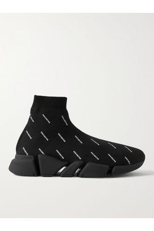 Balenciaga Men Sneakers - Speed 2.0 Logo-Print Stretch-Knit Slip-On Sneakers
