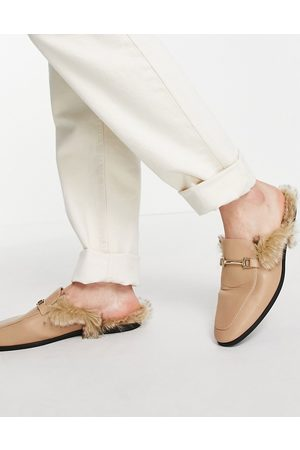 ASOS Men Loafers - Backless mule loafer in stone faux leather with faux fur-Neutral