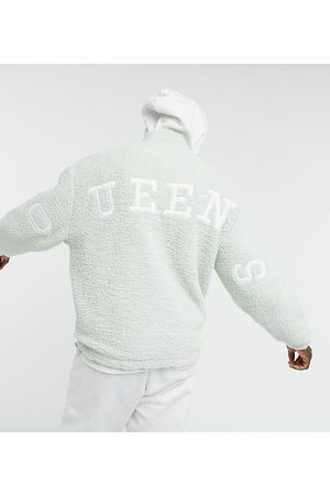 ASOS DESIGN Oversized teddy borg track top in pastel with Queens back applique
