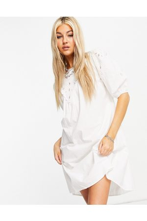 ONLY Poplin mini dress with broderie detail in