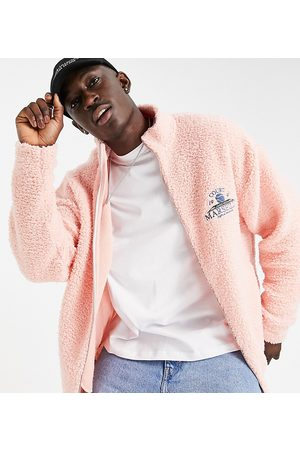ASOS DESIGN Men Sports Jackets - Oversized teddy borg track top with retro sport back embroidery