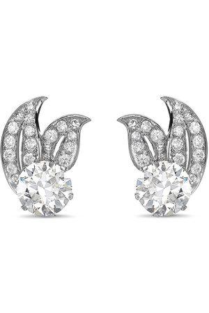 Pragnell Brilliant-cut diamond leaf earrings