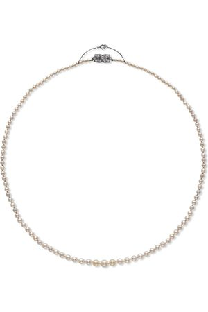Pragnell 18kt white gold Art Deco saltwater pearl and diamond necklace